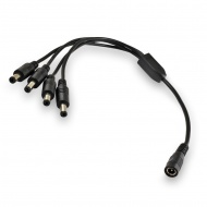 Power splitter cable from socket 5,5x2,1 mm to 4 plugs 5,5x2,1 mm. Length 30 cm