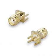 SMA(female) connector, solder attachment, for PCB thickness 1,0-1,2 mm, 4 pins 6,0x3,0 mm